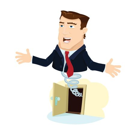 Business man popping out from opened door Stock Vector - 16991775