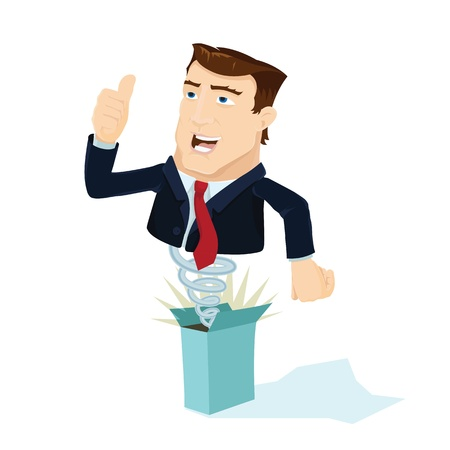 Business man popping out from box Illustration