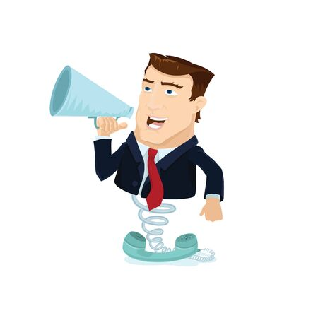 Business man popping out behind a telephone reciever  Stock Vector - 16991930
