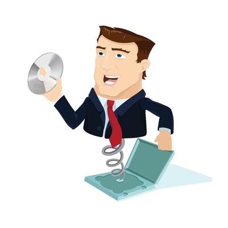 cd case: Hombre de negocios haciendo estallar fuera de la caja del CD