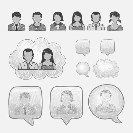 dibujos lineales: People Icons Head Line Vectores