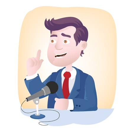 Speech microphone - gesture and facial expression of speaker Illustration