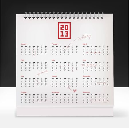 Calendar with collection of hand-drawn,text correction and highlighted days  Illustration