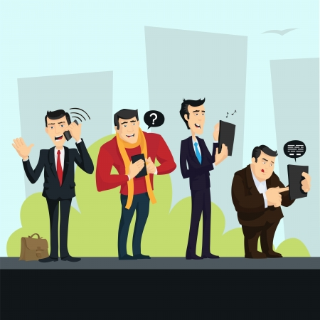 Four men of different ages, clothes and styles (businessman, creative, geek etc.) playing on their smart phones and tablets in the city.  Stock Vector - 17660484
