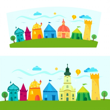 Children book illustration with town  Vector