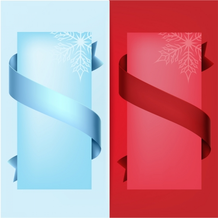 Blue and red banner with ribbon and snowflake