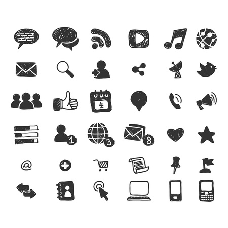 Media: Hand drawn social media icon set Illustration