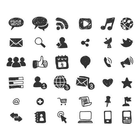 search icon: Hand getrokken sociale media icon set Stock Illustratie