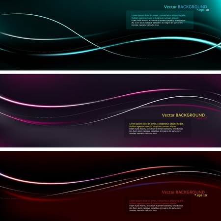 Dark presentation background with colored waves Stock Vector - 17660496