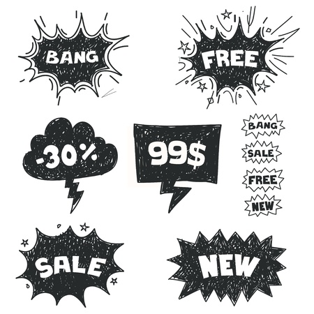Sale comic bubbles  Illustration