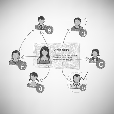 Hand-drawn people connections  Illustration