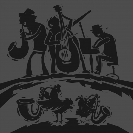 Music band illustration with funny characters