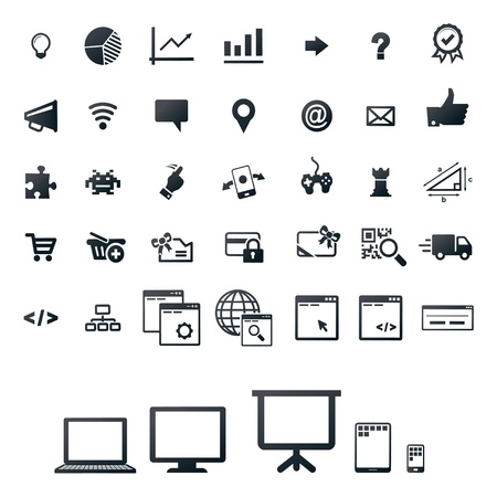 40 icons, set for gaming, programming and web-shop Stock Vector - 17660476