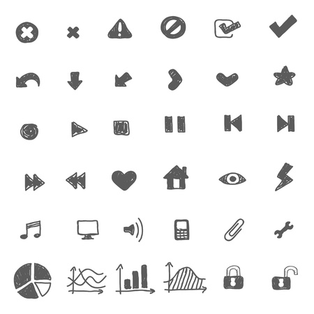 Hand drawn icon set Illustration