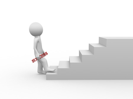 3d person is climbing stairs with success word  photo
