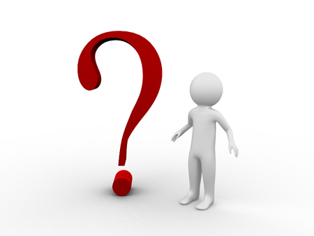 3d white people stand with a red question mark, isolated white background photo