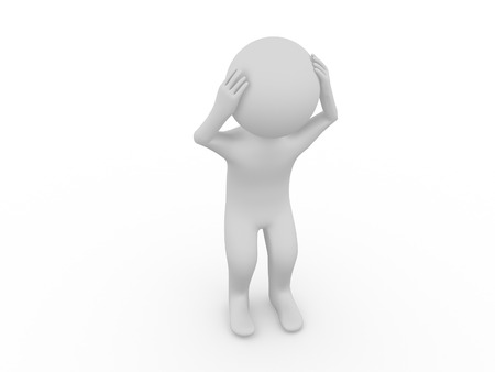 leans on hand: Sad 3d man standing with a head down on white background