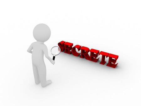 secrete: 3d man human search magnifying glass with secrete word Stock Photo