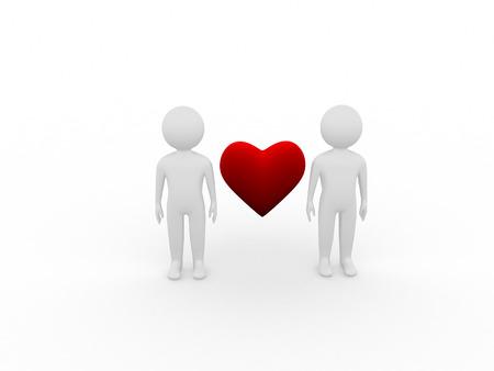 3d heart: Rendering of 3d heart between 2 people