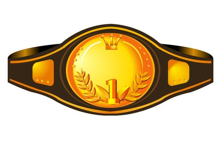 leather belt: illustration of a box champions belt. Stock Photo
