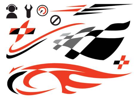 vector iconen met betrekking tot snelheid en racen
