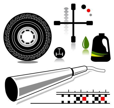 automotive service gerelateerde iconen