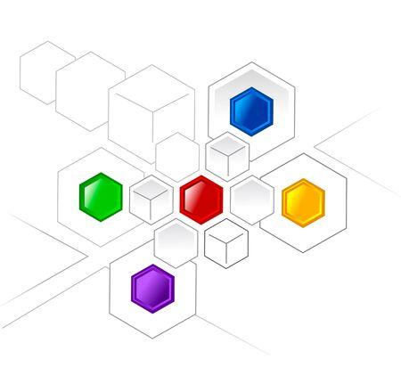 Aangesloten kleur Hexagons en kubussen voor verschillende projecten