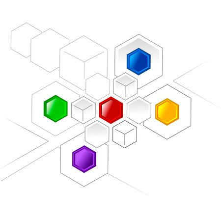 analyse: Connected color hexagons and cubes for various projects