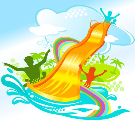 people having fun: water chute vector illustration of people having fun