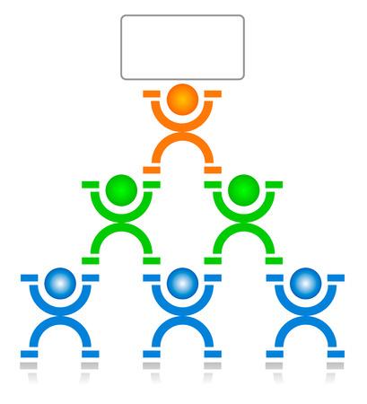 piramide humana: grupo de trabajo y el l�der  Vectores