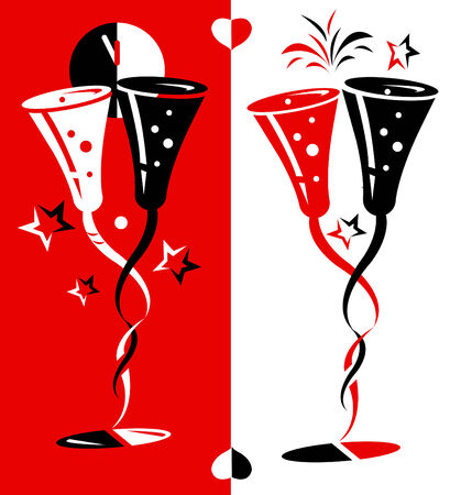 new years eve dinner: vector illustration for new year eve and Valentines day.