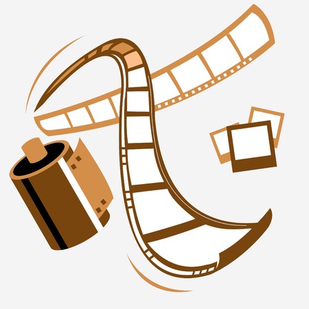 35mm film motion picture camera: vector filmstrip (*path included)