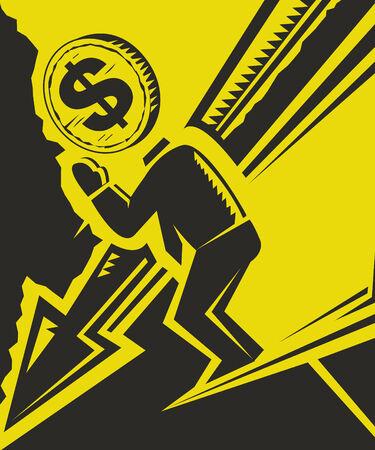 illustratie beschrijft dat de VS-dollar daling van de mondiale economie markt Stock Illustratie