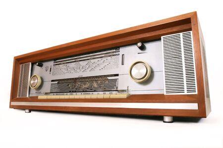 old fashion radio player over white background Stock Photo