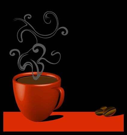 red mug with coffee over black background and coffee beans