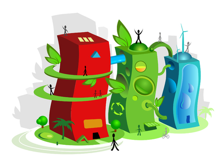reprocessing: illustration of an ecological friendly town with happy peoples walking around. Illustration