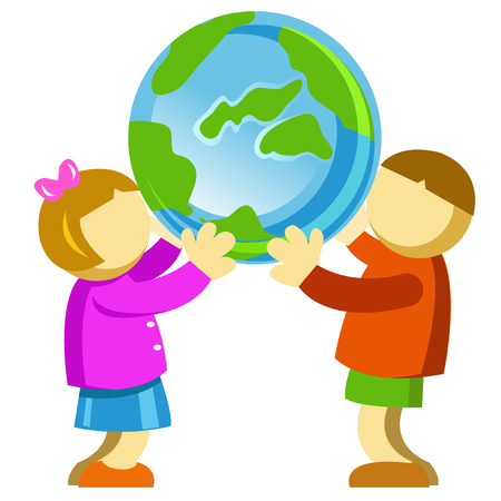 kids showing their  and care for planet earth