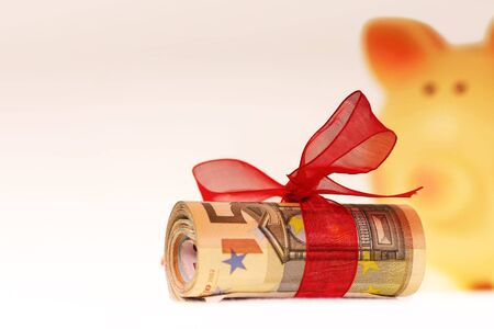 bankroll: bankroll of euros with piggy bank background Stock Photo
