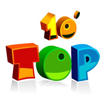 top tien vector kleurrijke letters Stock Illustratie