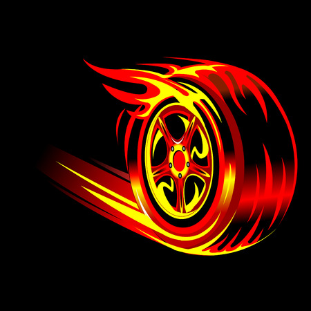 racing wheel: flaming vector wheel in black background. Speed and racing concept