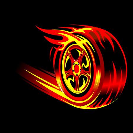 felgen: flammenden Vektor Rad in schwarzem Hintergrund. Speed-Rennen und Konzept