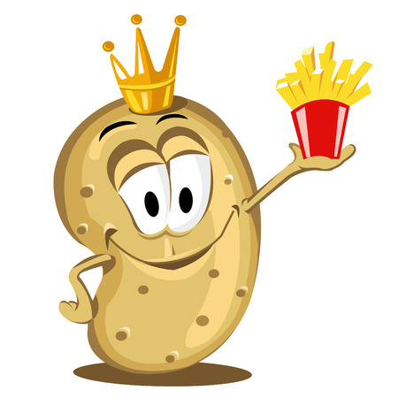 fries: cartoon happy potato holding a pack of French fries