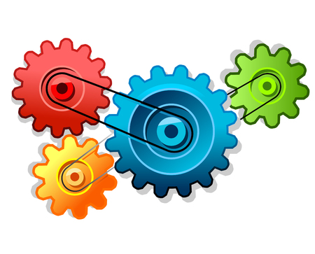 gearwheels: colored vector cogs Illustration