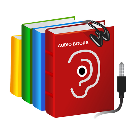 audio electronics: pile of vector audio books and set of earphones