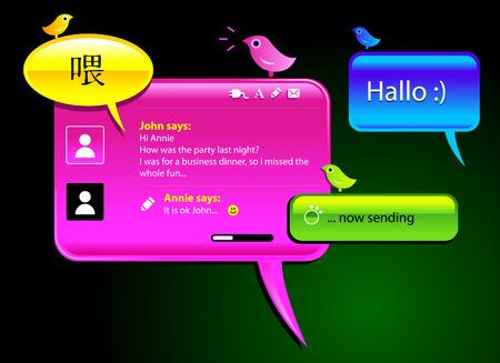 messaging en chatten gloosy vector ballonnen.