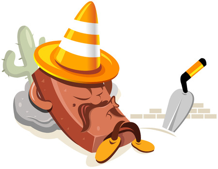 Illustration of a relaxing brick wearing a traffic cone on top of the head like a mexican with a somprero hat. You can use this illustration for website under construction purposes. Vector