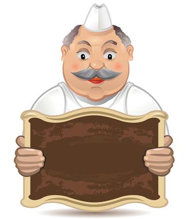 bakery sign: Chubby panadero feliz sosteniendo un signo en blanco