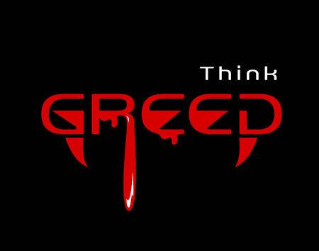 mot: think greed. Variation of the think green mot
