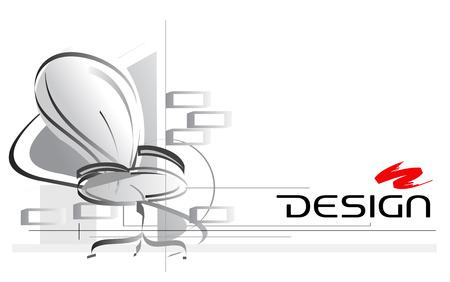 Illustration design d'intérieur avec chaise de bureau sur plan
