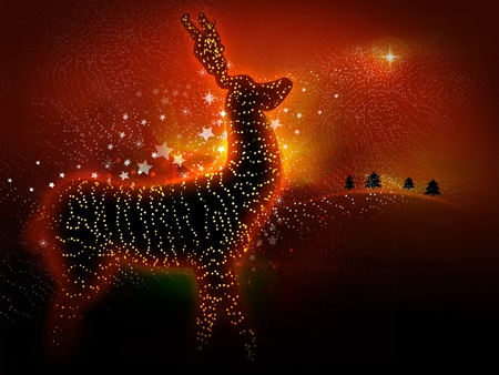 Christmas reindeer with glowing lights. Perfect as a Christmas card
